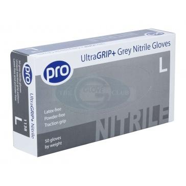 Ultragrip+ Grey Powder Free Nitrile Gloves x 50