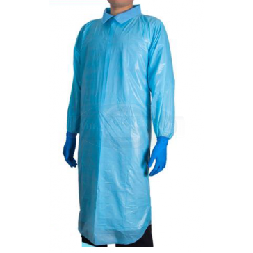 CPE Blue Disposable Gown with Thumb Holes x 15