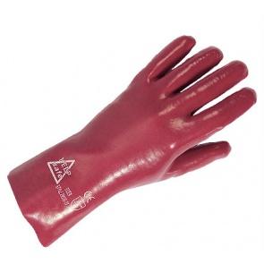 PVC Red Gauntlet Gloves 27cm - Size 10