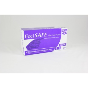 Feelsafe Powder Free Ultra Soft Nitrile Gloves Blue - 100 Gloves
