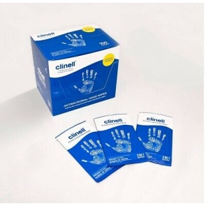 Clinell Antimicrobial Hand Wipes x 100 Sachets