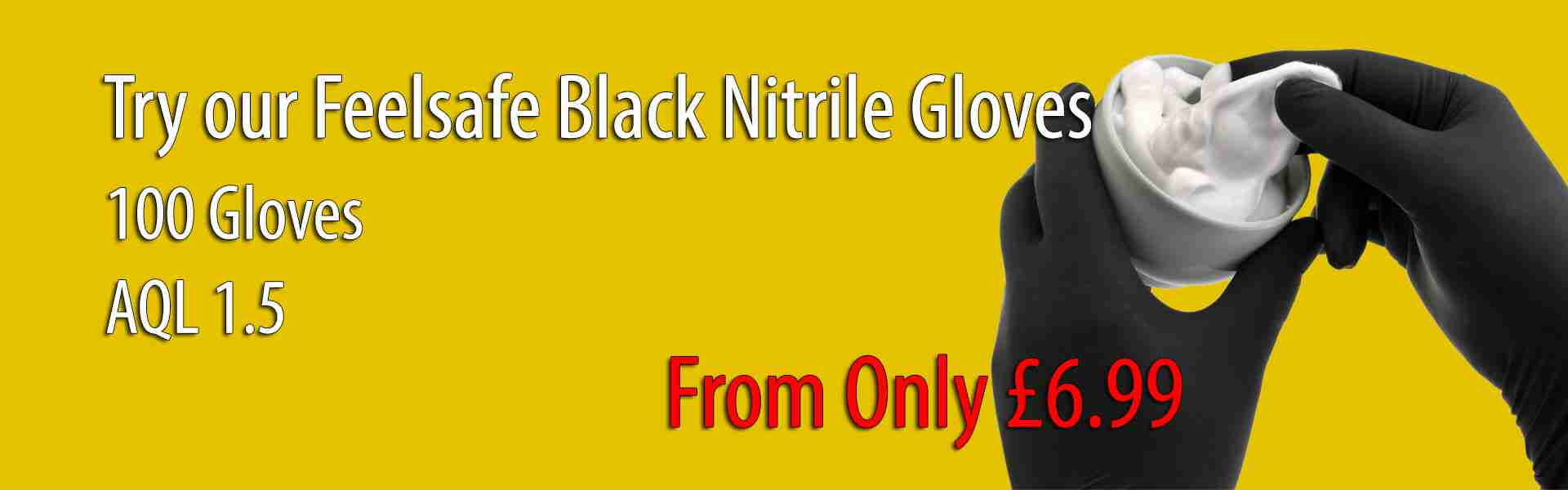 Feelsafe Powder Free Black Nitrile Gloves